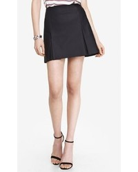Express A Line Leather Pleated Mini Skirt