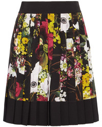 Fiori pleated floral print silk blend crepe de chine mini skirt black medium 5172945