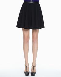 Robert Rodriguez Leather Waist Pleated Skirt