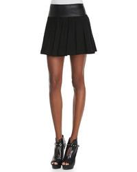 Alice + Olivia Leather Waist Pleated Skirt