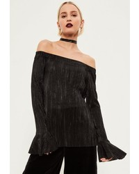 Missguided Black Pleated Glitter Bell Sleeve Off The Shoulder Top
