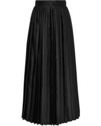 Black Pleated Satin Maxi Skirt