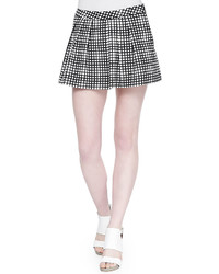 L'Agence Pleated Wide Leg Plaid Shorts