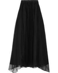 Brunello Cucinelli Pleated Crinkled Silk Maxi Skirt Black