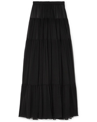 Saint Laurent Tiered Silk Chiffon Maxi Skirt