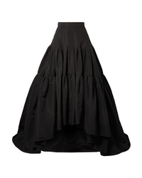 Reem Acra Tiered Silk Faille Maxi Skirt