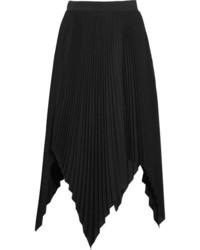 Proenza Schouler Asymmetric Pleated Cloqu Skirt Black