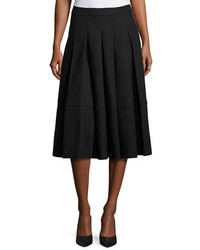 Co Box Pleated Midi Skirt Black