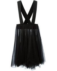 Black Pleated Tulle Midi Skirt
