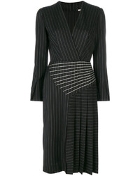 Marco De Vincenzo Pleated Pinstripe Midi Dress