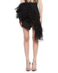Saint Laurent Pleated Virgin Wool Miniskirt