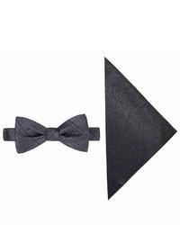 JF J.Ferrar Jf J Ferrar Textured Striped Bow Tie And Pocket Square Set