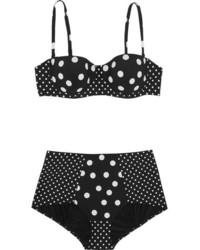 Dolce & Gabbana Paneled Polka Dot Bikini Black