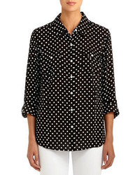 Fitted polka dot shirt with roll sleeves medium 65617