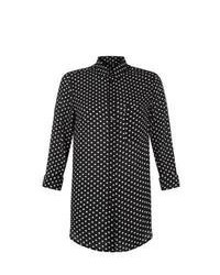 New Look Monochrome Polka Dot Longline Shirt