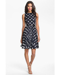 Adrianna Papell Burnout Polka Dot Fit Flare Dress Navy 8p