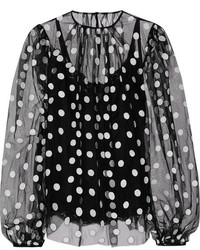 Black Polka Dot Chiffon Long Sleeve Blouse