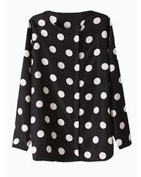 Choies Black And White Polka Dot Chiffon Shirt