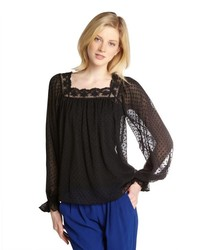 Love Sam Black Billow Sleeve Polka Dot Blouse