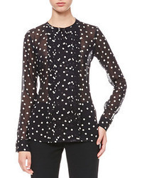 Dotted pleat front blouse medium 54239