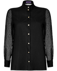 Ungaro Emanuel Cotton Poplin Blouse With Silk Chiffon Sleeves