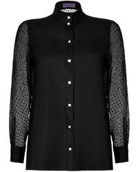 Ungaro Emanuel Cotton Poplin Blouse With Silk Chiffon Sleeves