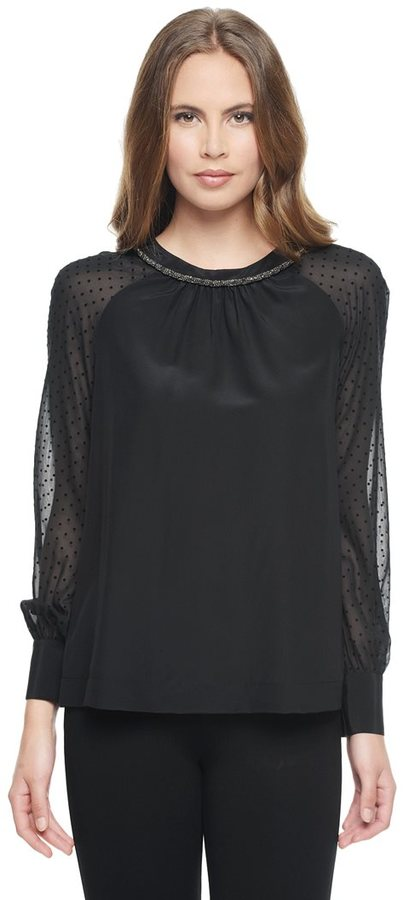 Juicy Couture Flocked Chiffon Silk Blouse