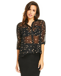 Lucy Paris Sheer Dotted Button Up Blouse In Black M L