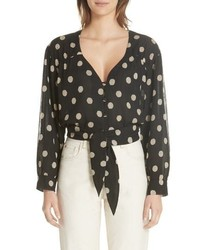 Nanushka Polka Dot Tech Chiffon Blouse