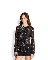 RED Valentino Silk Long Sleeve Polka Dot Blouse Black
