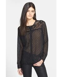 Robbi & Nikki Lace Yoke Sheer Textured Blouse Black Medium