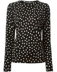 Black Polka Dot Crew-neck Sweater