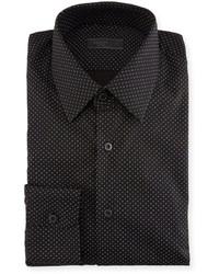 Prada Dot Print Dress Shirt Black