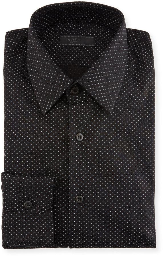f8cb60ff Prada Dot Print Dress Shirt Black, $426 | Last Call by Neiman Marcus ...