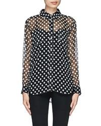 Nobrand Emmanuel Polka Dot Silk Chiffon Shirt