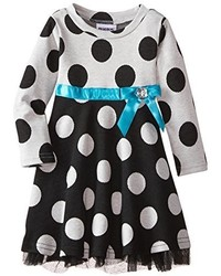 Blueberi Boulevard Little Girls Long Sleeve Polka Dot Knit Dress