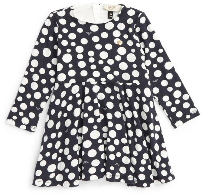Armani Junior Infant Girls Polka Dot Jersey Dress