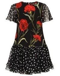 Dolce & Gabbana Polka Dot And Carnation Print Dress