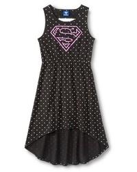 Supergirl Super Girl Girls Polka Dot Hi Lo Dress Black