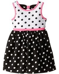 Youngland Little Girls Knit Polka Dot Printed Dress