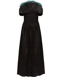 Emilio De La Morena Erika Sleeveless Polka Dot Silk Jacquard Gown