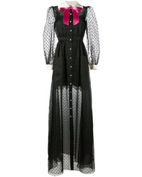 Gucci Sheer Polka Dot Gown With Contrast Collar And Bow