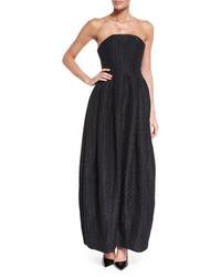 Armani Collezioni Strapless Polka Dot Gown Black