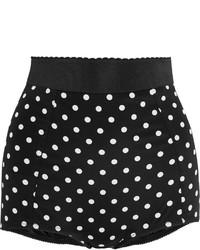 Dolce & Gabbana Polka Dot Silk Blend And Lace Shorts Black