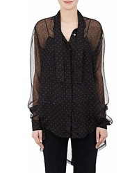 Ben Taverniti Unravel Project Polka Dot Silk Tieneck Blouse