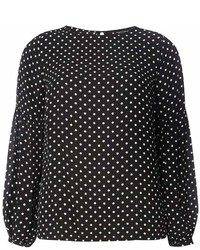 Dorothy Perkins Black Polka Dot Balloon Sleeve Top