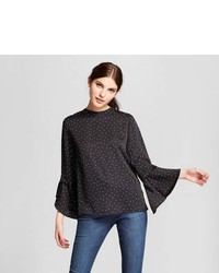 Eclair Long Bell Sleeve Polka Doted Blouse Clair Blackwhite