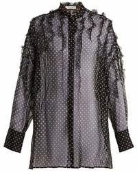 Valentino Polka Dot Print Silk Chiffon Blouse