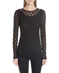 Black Polka Dot Long Sleeve T-shirt