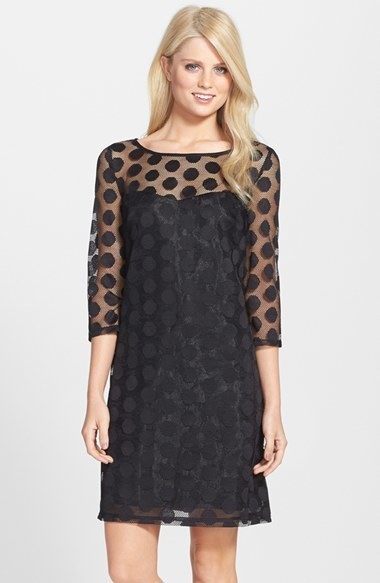 Betsey Johnson Dot Mesh Shift Dress | Where to buy & how to wear